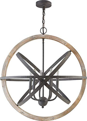 Capital 330561IW Pendant, 6-Light 360 Total Watts, Iron/Wood