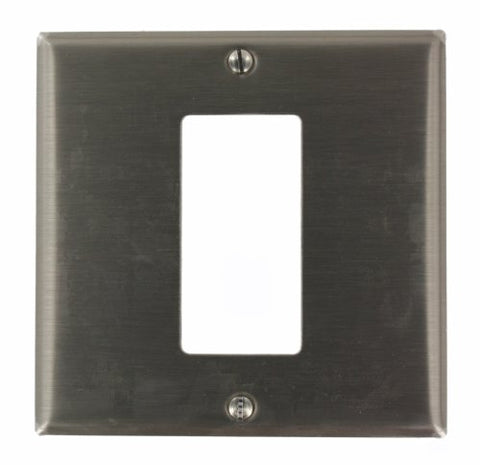 Leviton S746-N 2-Gang 1-Decora/GFCI Centered Device Decora Wallplate, Device Mount, Stainless Steel - llightsdaddy - Leviton - Wall Plates