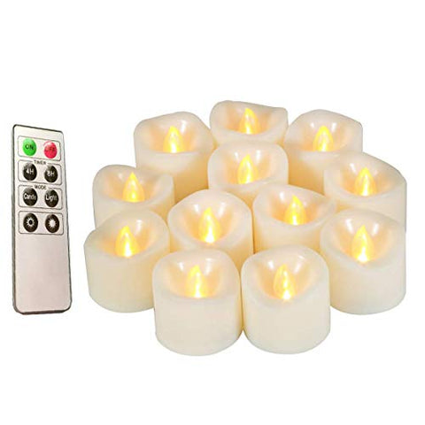 Flameless Candles, Realistic Flickering Votive Candle Tea Light Battery Operated, 200 Hours of Nonstop Working with Remote and 4/8 Hours Timer, Set of 12 LED Candle by Erosway - llightsdaddy - Erosway - Flameless Candles