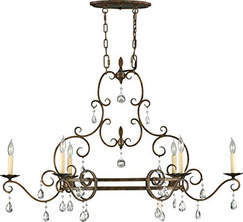 "Feiss-F2304/6MBZ-Chateau-Crystal-Candle-Chandelier-Lighting,-Bronze,-6-Light-(22""W-x-28""H)-360watts"