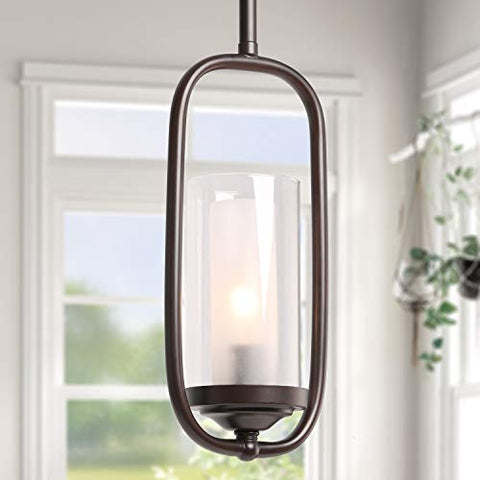 LALUZ Pendant Lighting for Kitchen Island,Glass Shade Modern Farmhouse Hanging Ceiling Lamp,Brown Finished, A03177