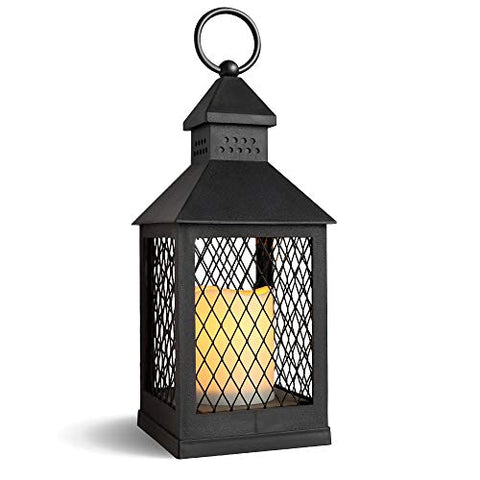 "DRomance Decorative Candle Lantern with 6 Hour Timer Battery Operated Flameless Flickering Candles, 3-Way Switch Heat Resistant Hanging LED Pillar Candle Lantern Outdoor Indoor Decor(Black, 4""x4""x11"") - llightsdaddy - DRomance - Flameless Candles"