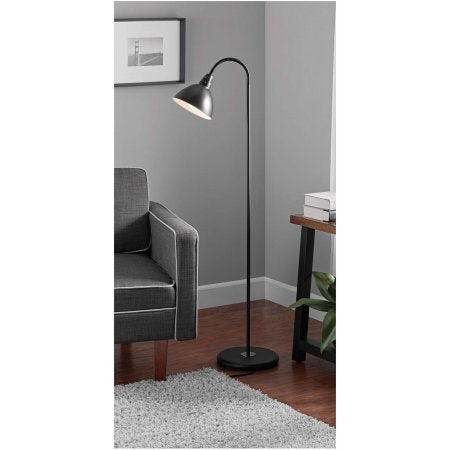 Mainstays Gooseneck Floor Lamp (Black) - llightsdaddy - Mainstay - Lamp Shades
