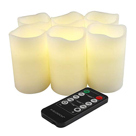"Flameless Candles Battery Operated Real Wax Pillar H-BLOSSOM LED Candles with 10 Key Remote Pack of 6 (D3"" x H5"") - llightsdaddy - H-BLOSSOM - Flameless Candles"