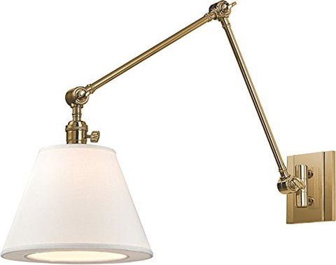 Hudson Valley Lighting 6234-AGB One Light Swing Arm Wall Sconce from The Hillsdale Collection, Aged Brass