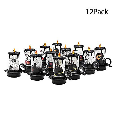 ADSRO Set of 12 Halloween Decorations Candles Tea Lights, LED Electronic Candle Lamp Ghost Hand Flameless Candle Warm Light with Castle, Witch, Bats Decal Halloween Decor Candles for Kids - llightsdaddy - ADSRO - Flameless Candles