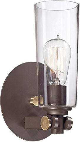 "Quoizel UPEV8701WT Uptown East Village Wall Sconce, 1-Light, 100 Watts, Western Bronze (11"" H x 7"" W)"