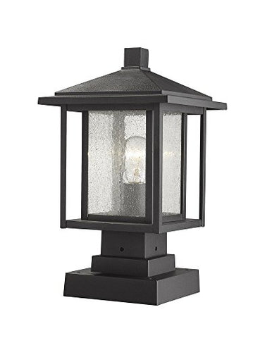 1 Light Outdoor Pier Mounted Fixture - 554PHMS-SQPM-BK  Z-Lite Flush mounts llightsdaddy.myshopify.com lightsdaddy