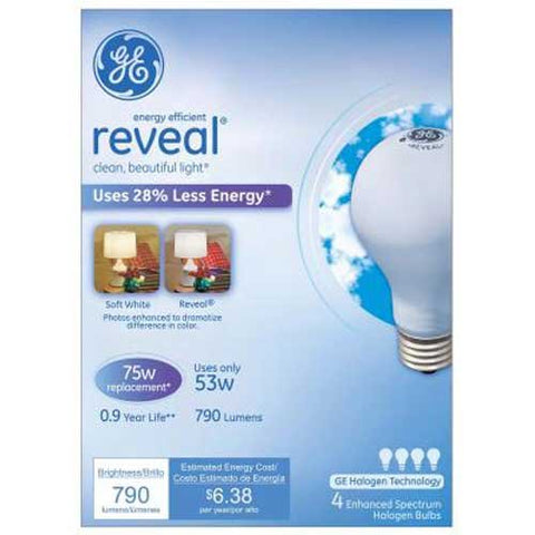 Ge 53w Eeh Reveal 4pk (=75w) - llightsdaddy - GE Lighting - Incandescent Bulbs