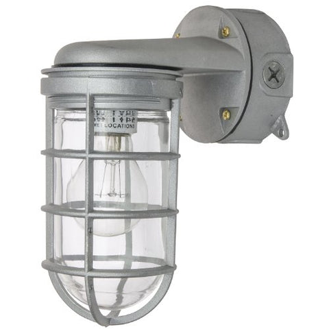 Sunlite 04902-SU Vaporproof Industrial Fixture, Wall Mount, Medium Base Socket (E26), 150W Max, 120 Volt, Outdoor, UL Listed, Clear Glass Jar, 5.5-Inch, Metallic Finish