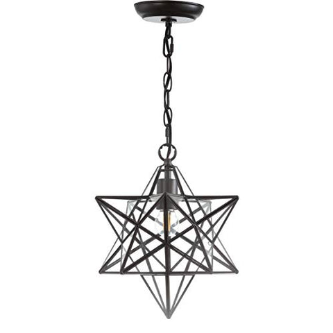 "JONATHAN Y JYL9035C Stella 13"" Moravian Star Metal/Glass Pendant, Oil Rubbed Bronze"