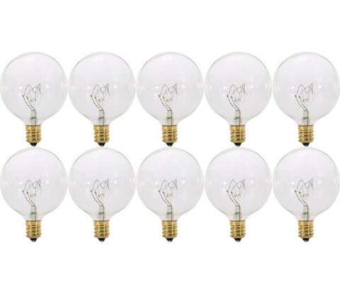 (Pack of 10) 40 Watt Clear Krypton G16.5 Decorative (E12) Candelabra Base LONG LIFE Globe Shape 120V 15G16 1/2 Light Bulbs
