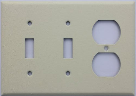 Ivory Wrinkle Three Gang Wall Plate - Two Toggle Switches One Duplex Outlet
