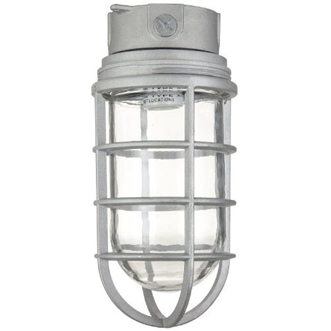 Sunlite 04901-SU Vaporproof Industrial Fixture, Ceiling Mount, Medium Base Socket (E26), 200W Max, 120 Volt, Outdoor, UL Listed, Clear Glass Jar, 5.5-Inch, Metallic Finish