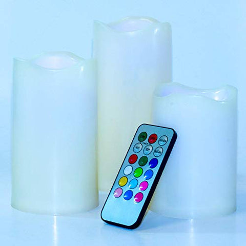 LED Candles. Flickering Flameless Candle. Battery Operated Candles & Remote. Melted Edge Effect. 100% Free of Smoke & Odors. Ivory Candle Dripless. GET 3-Pc & You Will Have 12 Options to Decorate - llightsdaddy - LED COLOR - Flameless Candles