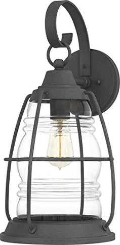 Quoizel AMR8410MB Admiral Coastal Armour Outdoor Glass Wall Sconce, 1-Light 150 Watt, Mottled Black
