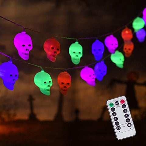 30 LED Halloween Decoration Skull String Lights, Battery Operated 8 Modes Fairy Lights with Remote, 16.4ft Waterproof Halloween Lights Decor for Outdoor Indoor Party (Multi Color)