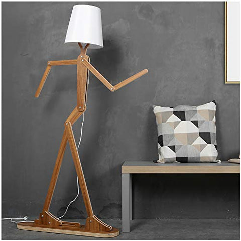 HROOME Modern Contemporary Decorative Wooden Floor Lamp Light with Fold White Fabric Shade Adjustable Height Standing Light for Living Room Bedroom Office 160cm Unique Design DIY Man Lamps (Walnut) - llightsdaddy - HROOME - Lamp Shades