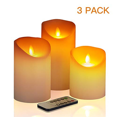 "Flameless Candles´╝î4"" 5"" 6"" Set of 3 Battery Operated Pillar Real Wax´╝î Include Realistic Dancing LED Flames and 10-Key Remote Control with 2/4/6/8-hours Timer Function, 300+ Hours. - llightsdaddy - AZ - Flameless Candles"