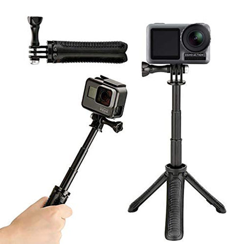 COLNER Handheld Mini Selfie Stick, Selfie Stick Tripod Aluminum Alloy Folding Extendable Monopod for DJI OSMO Action Camera,For Gopro Hero 7 6 5 4 3+ 3 2 1 Hero5/4 Session,For iPhone Samsung (Black) - llightsdaddy - COLNER - Fixture Replacement Globes & Shades