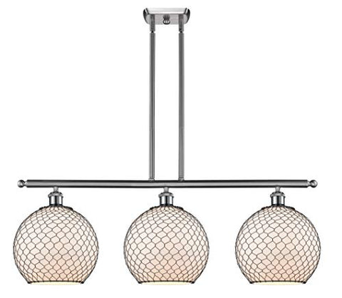 Innovations 516-3I-SN-G121-10CBK-LED Large Farmhouse Chicken Wire 3 Island Light Part of The Ballston Collection, Brushed Satin Nickel