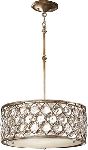 Feiss F2568/3BUS Lucia Drum Pendant Lighting Satin Nickel 3-Light (19Dia x 8H) 300watts
