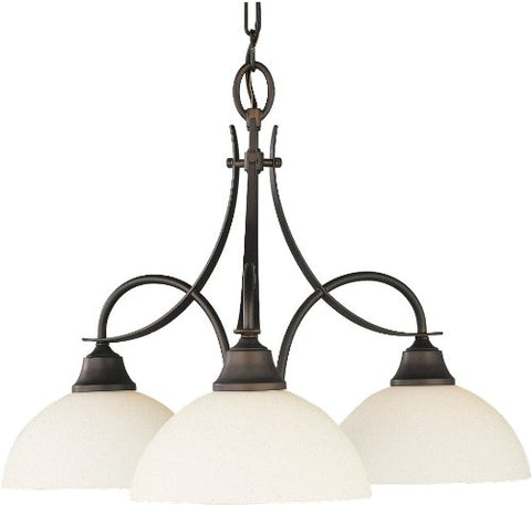 Feiss F1885/3ORB Boulevard Glass Mini Chandelier Lighting Bronze 3-Light (24Dia x 17H) 300watts