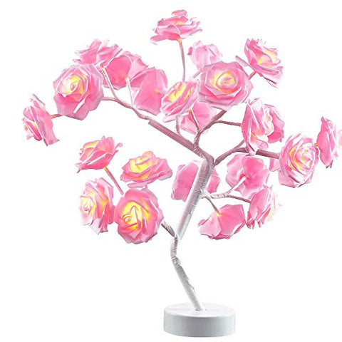 Table Lamp Rose Flower Desk Tree Lamp Gift For Girls Women Teens Home DeCor For Wedding Christmas Living Room Bedroom Party With 24 Warm White Led Lights |Two Modes: Usb/Battery Powered(White)