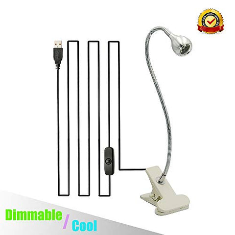 Dimmable USB Light Clip On Mini Desk Spotlight for Reading Studying Working and Computer Keyboard Lighting in Bedroom with Clamp and Flexible Neck-No AC Adapter (Silver Cool/Dimmable) - llightsdaddy - BLUESWIFT - Book Lights