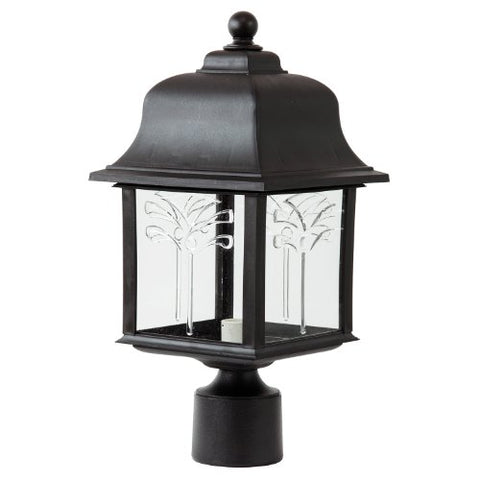 Sunlite 47216-SU DOD/ORP/BK/CL/MED Decorative Outdoor Orchid Post Polycarbonate Fixture, Black Finish, Clear Lens - llightsdaddy - Sunlite - Post Lights
