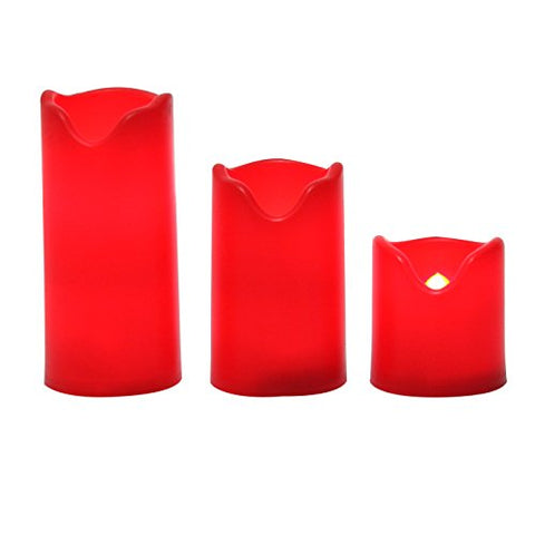 "iZAN Red Flameless LED Battery Operated Votive Candles with Timer Flickering Decorative Electric Small Pillar Candles for Halloween Christmas Home Party D├ęcor 1.8""x2""/3""/4"" 3-Pack Batteries Included - llightsdaddy - iZAN - Flameless Candles"