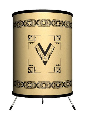 "Lamp-In-A-Box TRI-MNG-DECOV Monograms Deco Letter V Tripod Lamp, 8"" x 8"" x 14"""