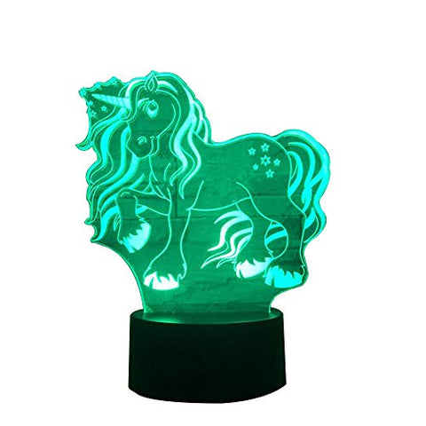 3D Unicorn Night Light,Unicorn Party Supplies Optical Illusion Desk Lamp Touch Button USB Nightlight Produces Unique Visualization Lighting Effects Art Sculpture Light Gift Ideas for Boys and Girls