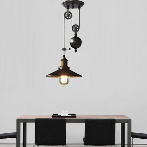 Lightinthebox Metal Creative Pulley Design Black Iron Painted Industrial Vintage Style 1-Light Pendant Island Light Bar Retro Hanging Lamp Light for Dinning Room Kitchen Hallway Garage