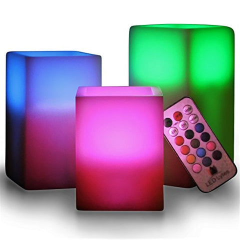 LED Lytes Flameless Candles Set of 3 Square Ivory Wax with Flickering Color Changing Flame, auto-Off Timer Remote Control for Christmas Home Decor and Gifts - llightsdaddy - LED Lytes - Flameless Candles