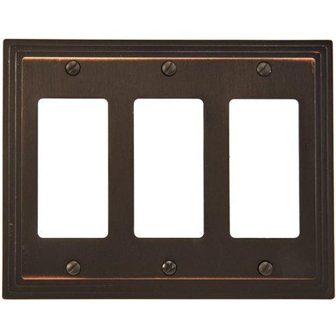 Amerelle Steps Triple Rocker Cast Metal Wallplate in Aged Bronze - llightsdaddy - AmerTac - Wall Plates