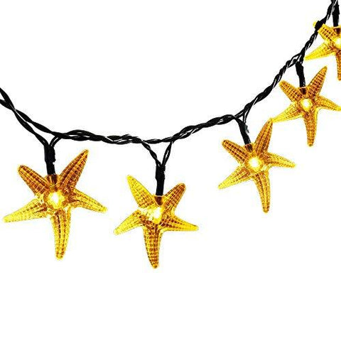 Original Starfish Solar String Lights, 20ft 30 LED Fairy Halloween Christmas Lights Decorative Lighting for Indoor/Outdoor, Garden, Home, Patio, Lawn, Party and Holiday Decorations(Warm White) - llightsdaddy - GE - Low Voltage Transformers