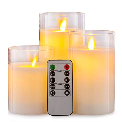 "Howemon Flameless Candles with Glass Effect 4"" 5"" 6"" Set of 3 Drip-Less Real Wax Pillars Include Realistic Dancing LED Flames and 10-Key Remote Control with 24-Hour Timer Function - llightsdaddy - Howemon - Flameless Candles"