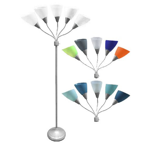 Five Head Spider Floor New Lamp With 14 White茂录� Blue and multi Collection Color Sheads