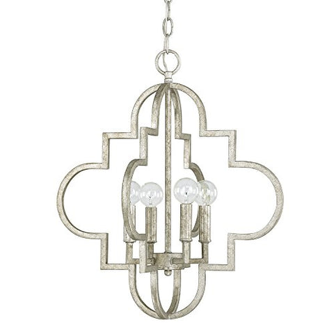 capital lighting 4541as four light pendant, antique silver