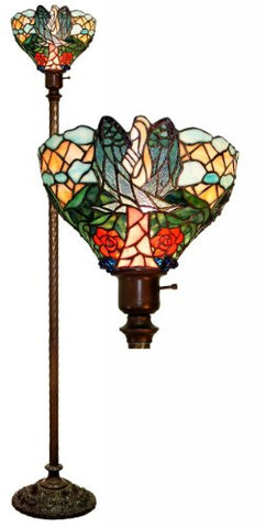 Warehouse of Tiffany 2867+BB75B Tiffany-style Angelic Torchiere, Blue/Green - llightsdaddy - Warehouse of Tiffany - Lamp Shades