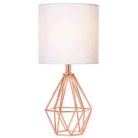 COTULIN Rose Gold Modern Hollow Out Base Living Room Bedroom Small Table Lamp,Bedside Lamp with Metal Base and White Fabric Shade