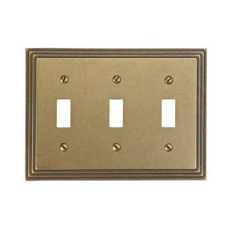 Amerelle Steps Triple Toggle Cast Metal Wallplate in Rustic Brass - llightsdaddy - Leviton - Wall Plates