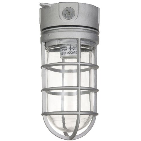 Sunlite 04900-SU Vaporproof Industrial Fixture, Ceiling Mount, Medium Base Socket (E26), 100W Max, 120 Volt, Outdoor, UL Listed, Clear Glass Jar, 5.5-Inch, Metallic Finish