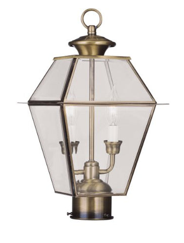 Livex Lighting 2284-01 Westover 2-Light Outdoor Post Head, Antique Brass - llightsdaddy - Livex Lighting - Outdoor Porch & Patio Lights