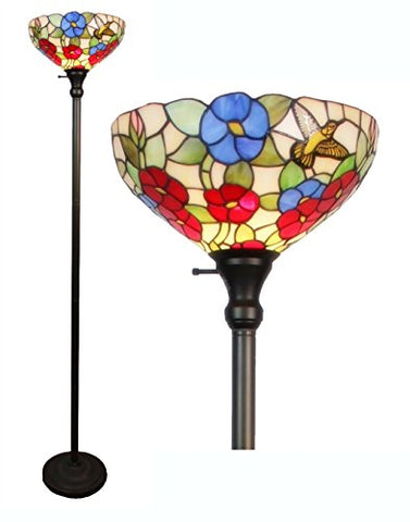 "Amora Lighting Tiffany-style AM022FL14 Hummingbirds Floral Torchiere Floor Lamp, 70""H x 14""W"