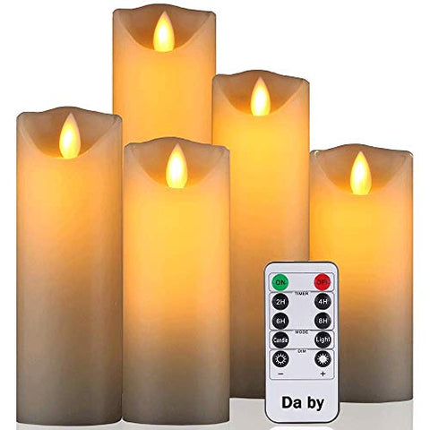 "Da by Flameless Candle 5"" 6"" 7"" 8"" 9"" Set of 5 Realistic Dancing LED Flickering Wick for Parties,Home,Public Elegant Events, Battery Powered, 10-Key Remote Control, Ivory Color - llightsdaddy - Da by - Flameless Candles"