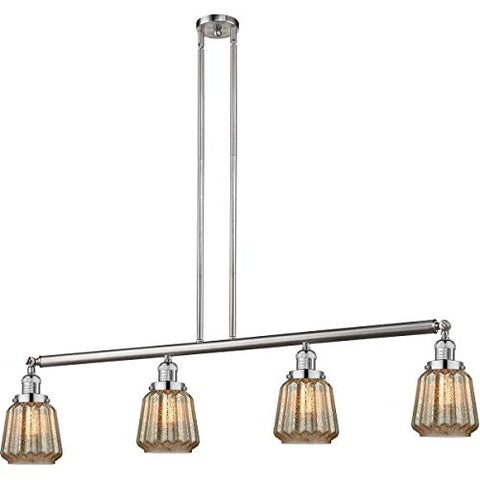 "Island Lighting 4 Light Fixtures with Brushed Satin Nickel Finish Cast Brass Glass Material Medium 51"" 400 Watts - llightsdaddy - World of LifeStyle - Island Lights"