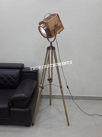 Classical Wooden Spotlight with Tripod Industrial Nautical Floor Lamp Living Room - llightsdaddy - THORINSTRUMENTS - Lamp Shades