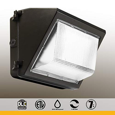 LED Wall Pack, Glass Refractor, 1-10V dimming, 5000K, 100-277VAC DLC Premium Product, 40W, 5000K, 5120 lm, with Photocell